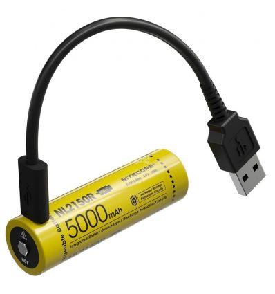Nitecore - NL2150R USB-C - Batteria ricaricabile protetta Li-Ion 21700 3.6V 5000mAh