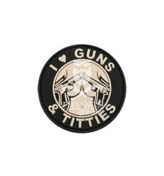 Patch I Love Guns and Titties PVC - Black
