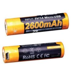 Batteria Ricaricabile 18650 3.6V 2600 mAh Micro USB