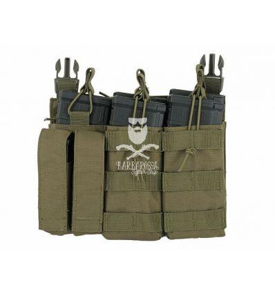 Tasca Tripla Porta Caricatore 5.56/9mm a Pannello - OD