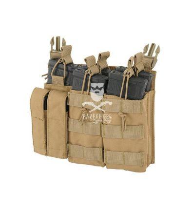 Tasca Tripla Porta Caricatore 5.56/9mm a Pannello - Tan
